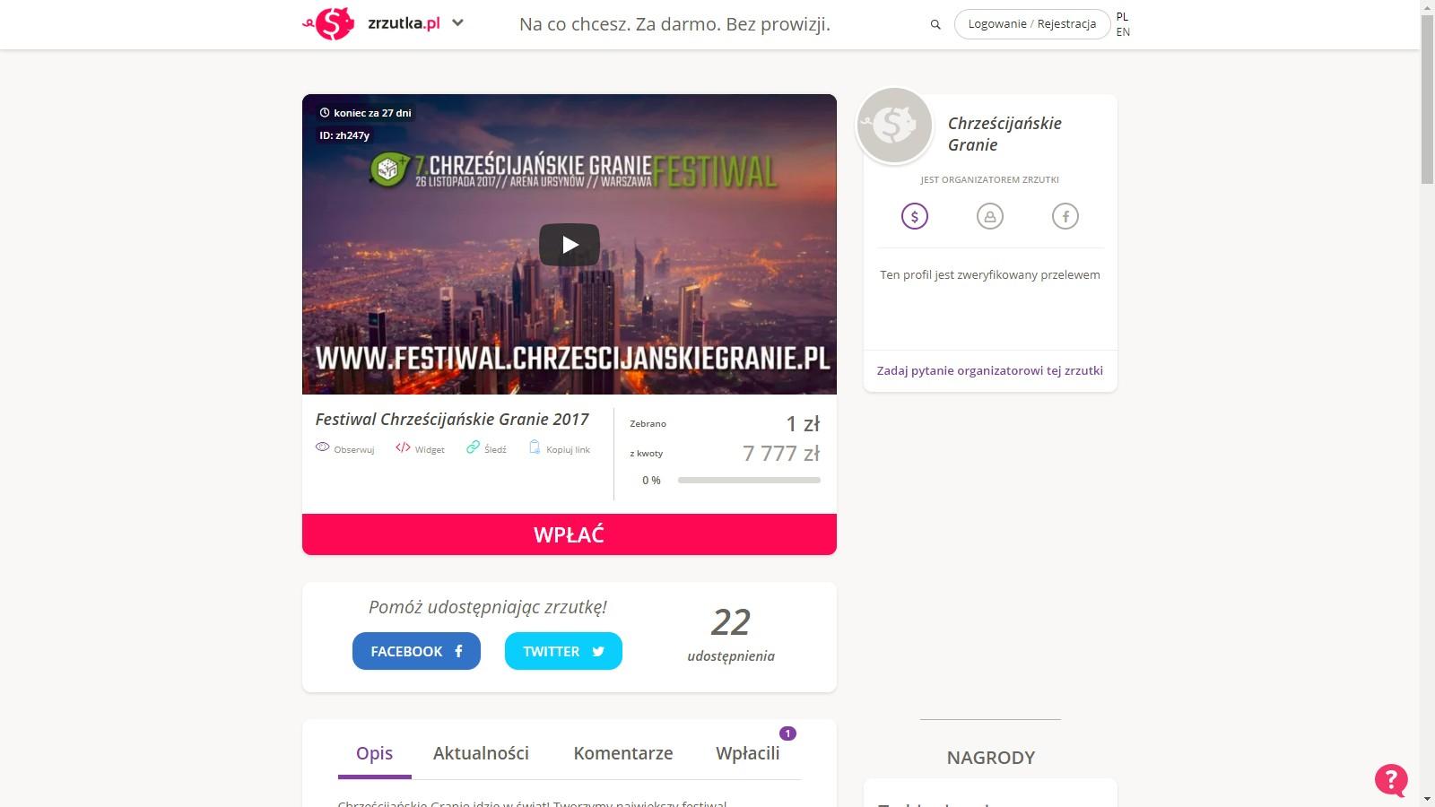Festiwal Chrześcijańskie Granie 2017 - zrzutka
